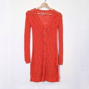 FREE PEOPLE Orange Crochet Duster Cardigan